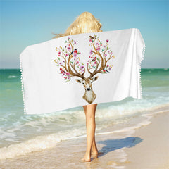 Floral Moose Bath Towel With Tassels Reindeer Microfiber Beach Towel For Woman Rectangle Deer Yoga Mat 75cmx150cm