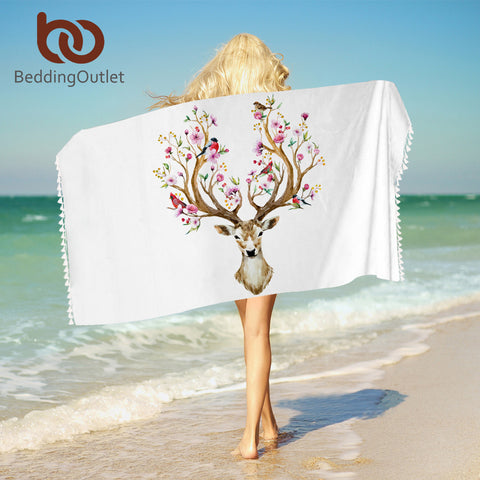 Floral Moose Bath Towel With Tassels Reindeer Microfiber Beach Towel For Woman Rectangle Deer Yoga Mat 75cmx150cm - Beach Towel | Ziloda