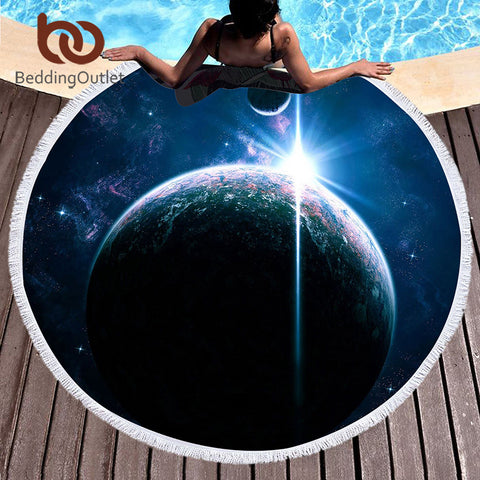 BeddingOutlet Galaxy Large Round Beach Towel for Adults Microfiber Cover Up Tassel Tapestry Serviette De Plage Toalla Blanket - Round Beach Towel | Ziloda