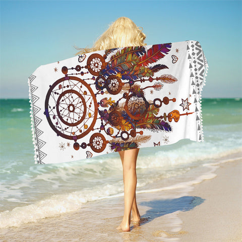 Hipster Dreamcatcher Bath Towel For Adults Mandala Beach Towel With Tassel Microfiber Boho Blanket 75x150cm Mat - Beach Towel | Ziloda