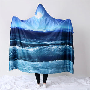 Hooded Blanket 3d Printed for Adults Sofa Moon Sky Sherpa Fleece Wearable Wrap Throw Blanket Microfiber 150x200cm - Hooded Blanket | Ziloda