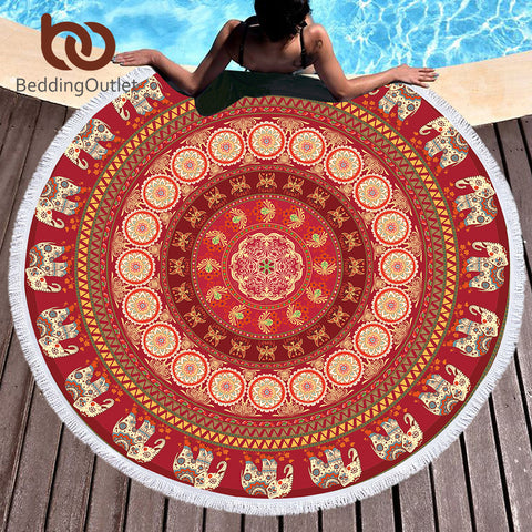 BeddingOutlet Indian Elephant Round Beach Towel Bohemian Tassel Mandala Tapestry Yoga Mat Red Toalla Floral Boho Blanket 150cm - Round Beach Towel | Ziloda
