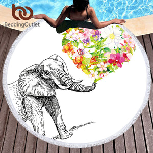 BeddingOutlet Indian Elephant Round Beach Towel Bohemian Tassel Tapestry Floral Heart Yoga Mat White Toalla Blanket 150cm - Round Beach Towel | Ziloda