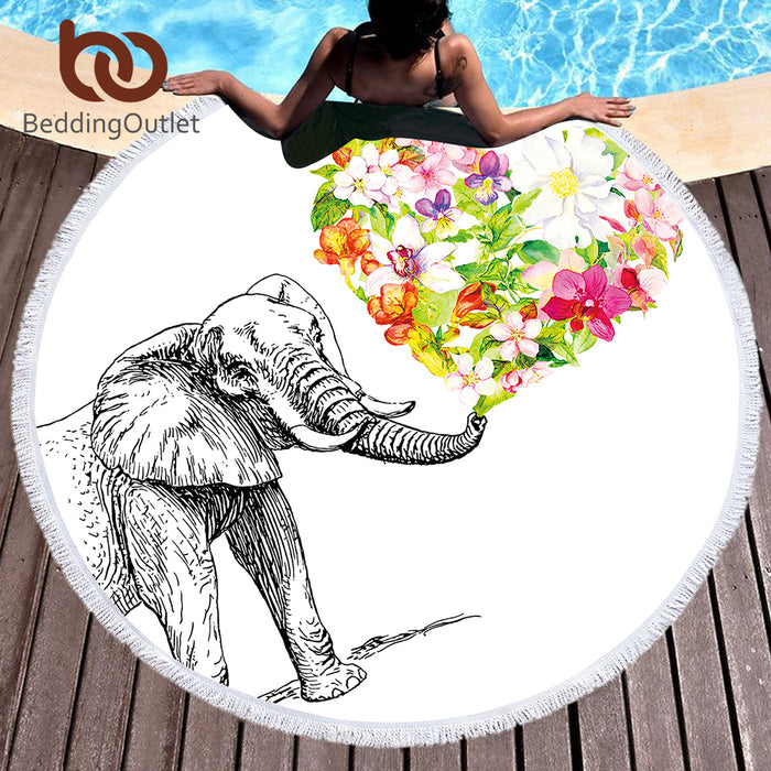Indian Elephant Round Beach Towel Bohemian Tassel Tapestry Floral Heart Yoga Mat White Toalla Blanket 150cm