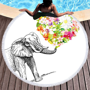 Indian Elephant Round Beach Towel Bohemian Tassel Tapestry Floral Heart Yoga Mat White Toalla Blanket 150cm - Round Beach Towel | Ziloda
