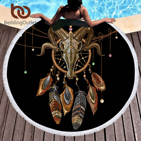 BeddingOutlet Indian Skull Round Beach Towel Dreamcatcher Tassel Tapestry Yoga Mat Feathers Printed Black Toalla Blanket 150cm - Round Beach Towel | Ziloda
