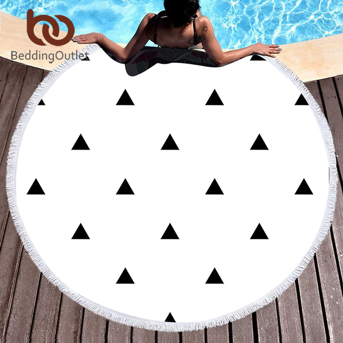 BeddingOutlet Large Round Beach Towel Microfiber Bath Towel for Adults Summer Toalla Tassel Tapestry Serviette De Plage 150cm