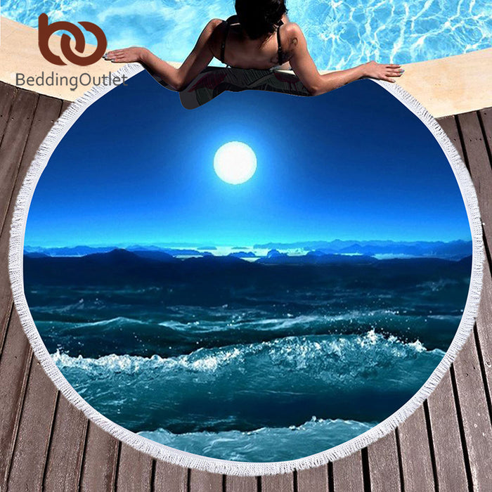 BeddingOutlet Large Round Beach Towel for Adults Scenic Starfish Tassel Tapestry Microfiber Toalla Blanket Serviette De Plage