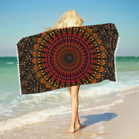 Mandala Bath Towel With Tassels For Bathroom Microfiber Beach Towel Adults Rectangle Bohemian Yoga Mat 75cmx150cm - Beach Towel | Ziloda