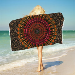 Mandala Bath Towel With Tassels For Bathroom Microfiber Beach Towel Adults Rectangle Bohemian Yoga Mat 75cmx150cm