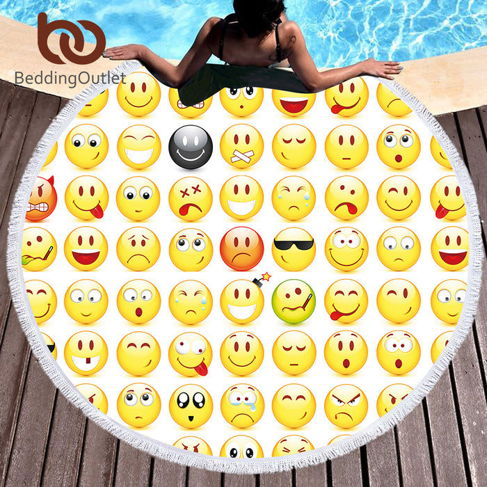 BeddingOutlet Microfiber Bath Towel Large Round Beach Towel Kid Summer Toalla Emoji Printed Tassel Tapestry With Tassel 150cm