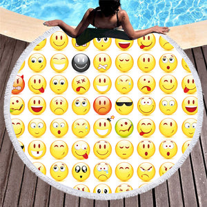 BeddingOutlet Microfiber Bath Towel Large Round Beach Towel Kid Summer Toalla Emoji Printed Tassel Tapestry With Tassel 150cm - Round Beach Towel | Ziloda