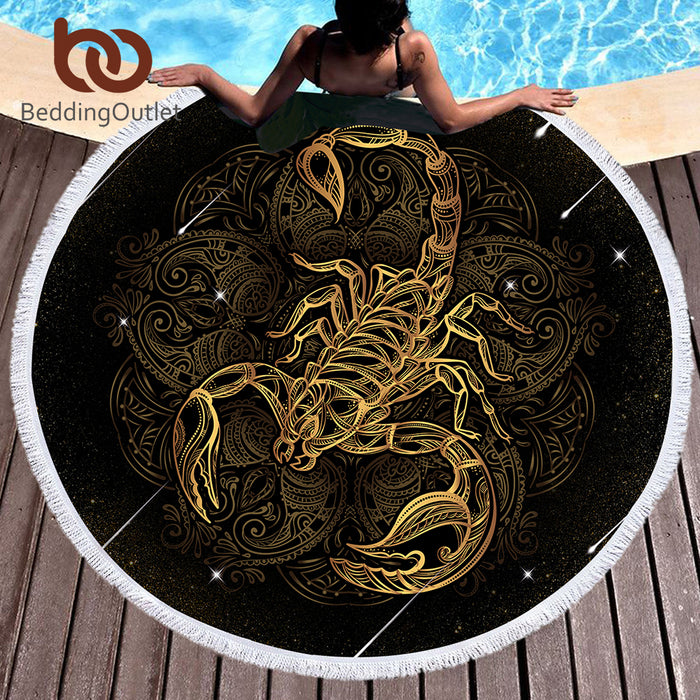 Microfiber Bath Towel Round Beach Towel for Adults Summer Sunblock Toalla Scorpion Printed Tassel Tapestry 150cm