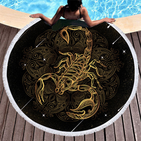 Scorpion Round Beach Towel - Round Beach Towel | Ziloda