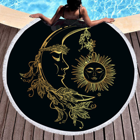 BeddingOutlet Microfiber Bath Towel Summer Round Beach Towel for Adults Boho Printed Toalla Moon And Sun Tassel Tapestry Blanket - Round Beach Towel | Ziloda