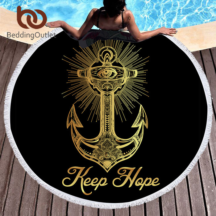 BeddingOutlet Microfiber Black Bath Towel Round Beach Towel for Adults Golden Anchor Tassel Tapestry 150cm Blanket Yoga Towel