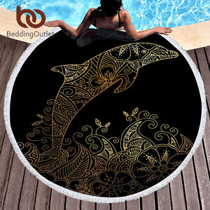 BeddingOutlet Microfiber Large Bath Towel Round Beach Towel for Adults Summer Toalla 150cm Dolphin Boho Printed Tassel Tapestry - Round Beach Towel | Ziloda