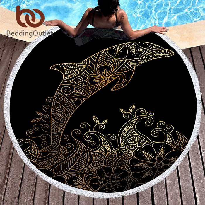 BeddingOutlet Microfiber Large Bath Towel Round Beach Towel for Adults Summer Toalla 150cm Dolphin Boho Printed Tassel Tapestry