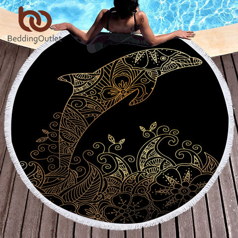 Microfiber Large Bath Towel Round Beach Towel for Adults Summer Toalla 150cm Dolphin Boho Printed Tassel Tapestry - Round Beach Towel | Ziloda