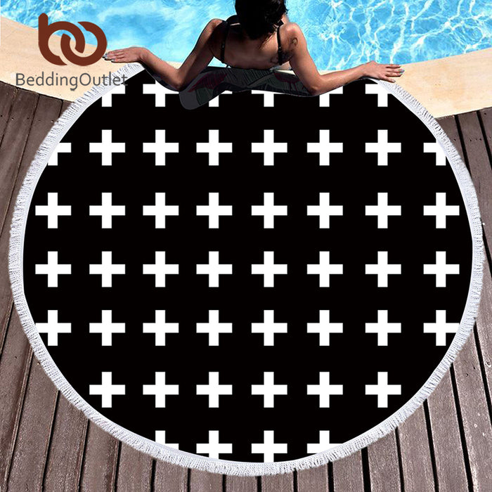 BeddingOutlet Microfiber Round Beach Towel Large Bath Towel for Adults Kids Summer Toalla Black Cross Printed Tassel Tapestry