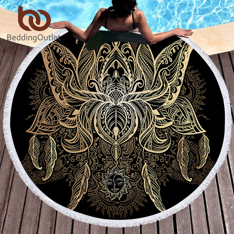 BeddingOutlet Microfiber Round Beach Towel Large for Adults Floral Lotus Printed Toalla Tassel Yoga Mat 150cm Blanket Cover Up - Round Beach Towel | Ziloda