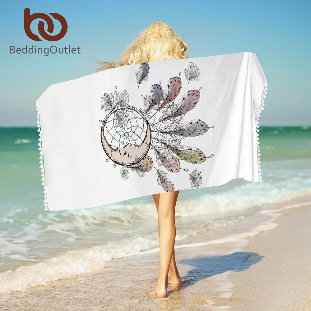 Moon Dreamcatcher Towel With Tassel For Woman Microfiber White Beach Towel Boho Wrapped Blanket 75x150cm Rectangle - Beach Towel | Ziloda