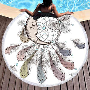 Moon and Dreamcatcher Tassel Mandala Round Beach Towel - Round Beach Towel | Ziloda