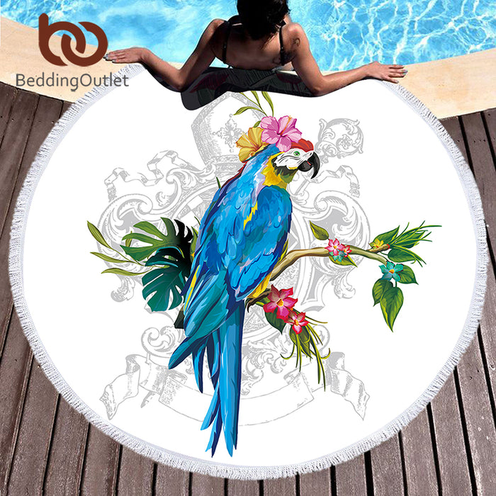 BeddingOutlet Round Beach Towel Parrot Printed Microfiber Bath Towel Large for Adults Kids Summer Cover Up Toalla With Tassel