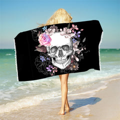 Sugar Skull Bath Towel With Tassels Floral Microfiber Beach Towel Pink Rose Rectangle Yoga Mat 75cmx150cm