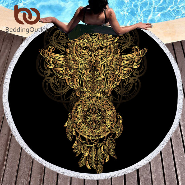 BeddingOutlet Summer Round Beach Towel Microfiber Bath Towel Large for Adults Owl Dreamcatcher Tassel Blanket Beach Cover Up