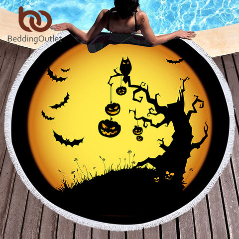 Summer Round Beach Towel Microfiber Large Bath Towel Halloween Printed Toalla Tassel Tapestry 150cm - Round Beach Towel | Ziloda