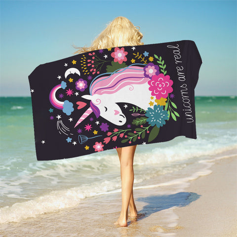 Unicorn Bath Towel With Tassels Cartoon Printed Microfiber Beach Towel For Woman Kids Floral Picnic Mat 75cmx150cm - Beach Towel | Ziloda