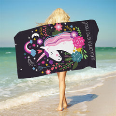 Unicorn Bath Towel With Tassels Cartoon Printed Microfiber Beach Towel For Woman Kids Floral Picnic Mat 75cmx150cm