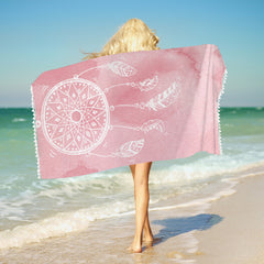 Watercolor Dreamcatcher Bath Towel With Tassels Microfiber Beach Towel Blue and Pink Rectangle Bikini Cover-Up Mat