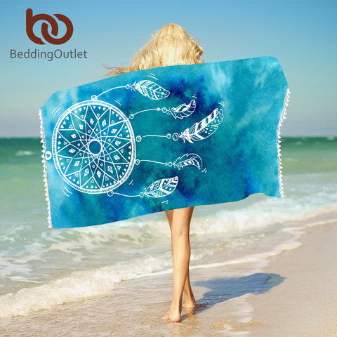 Watercolor Dreamcatcher Bath Towel With Tassels Microfiber Beach Towel Blue and Pink Rectangle Bikini Cover-Up Mat - Beach Towel | Ziloda