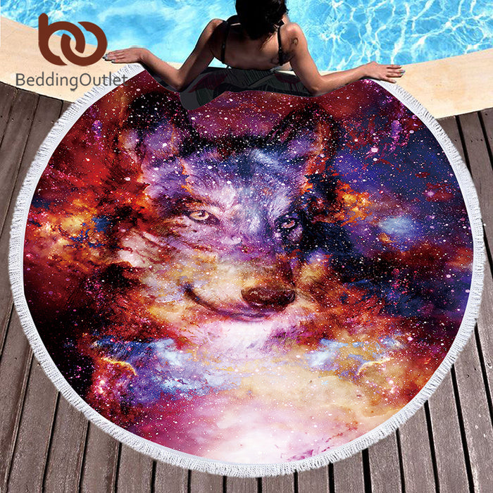 BeddingOutlet Wolf Round Beach Towel Adults With Tassel Circle Blanket 3d Print Microfiber 150cm Blanket Yoga Mat Tapestry