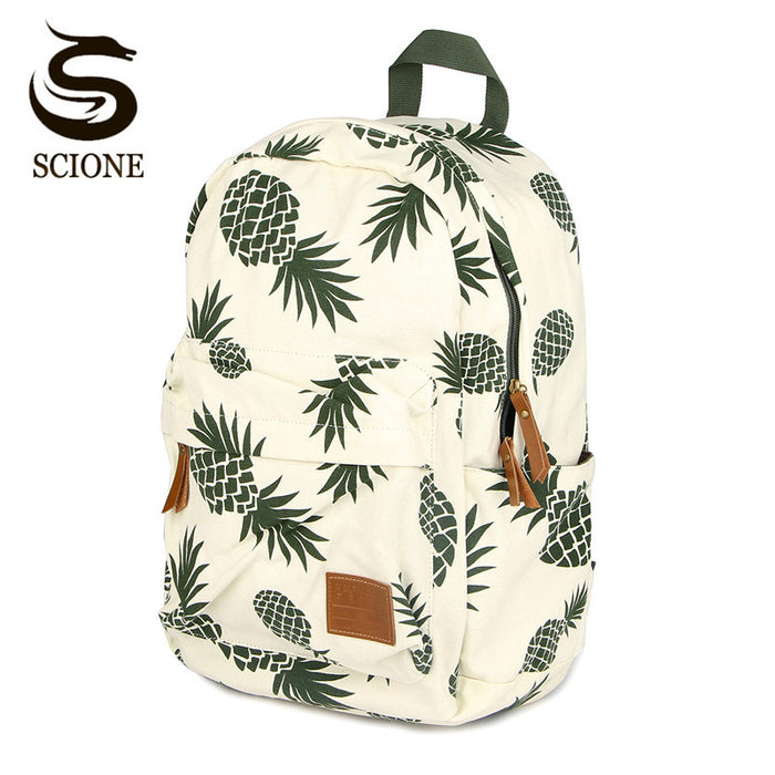 Green Pineapple Womens Printing Backpack