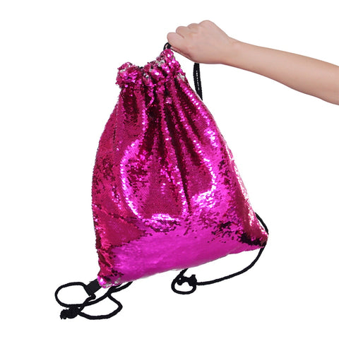 Drawstring Storage Bag Strap Panelled Reversibl Double Color Sequins Women Shoulder Bag Straps Backpack Home Bolsas Feminina D30 - Gift Bags & Wrapping Supplies | Ziloda