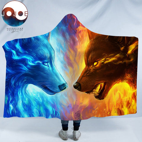 Fire and Ice by JoJoesArt Hooded Blanket 3d Wolves for Adults Sherpa Fleece Wearable Throw Blanket Microfiber 150x200 Blue Wolf - Hooded Blanket | Ziloda