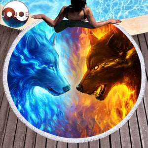 Fire and Ice by JoJoesArt Round Beach Towel - Round Beach Towel | Ziloda