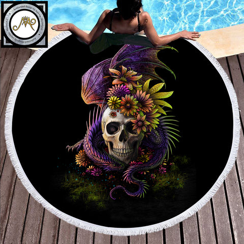 Flowery Skull by SunimaArt Large Round Beach Towel - Round Beach Towel | Ziloda