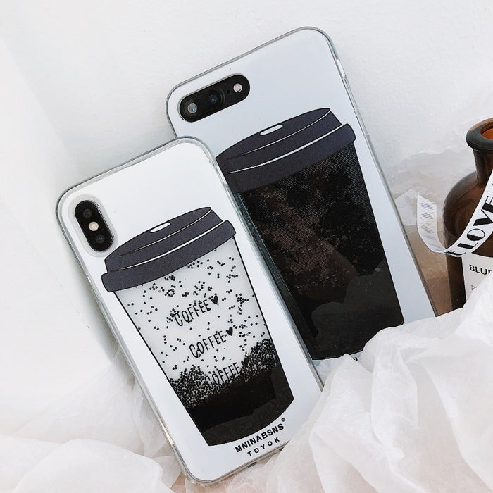 Coffee Cup Liquid Quicksand Silicone Cover For iPhone X 8 Plus 7 Plus 6 6S Plus Phone Case