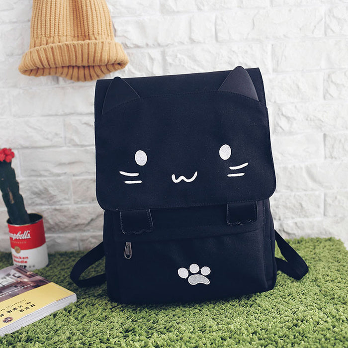 Cute Embroidery Cat Canvas Backpack