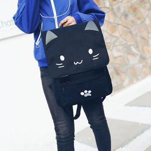 Cute Embroidery Cat Canvas Backpack - Backpacks | Ziloda