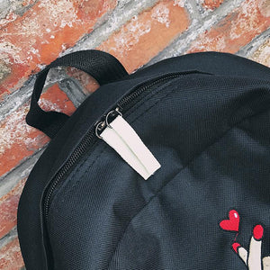 Cute Rose Embroidery Canvas Backpack - Backpacks | Ziloda