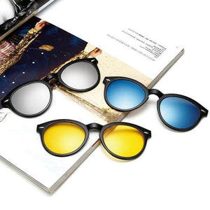 5pcs Magnetic Polarized Retro Fashion Sunglasses - Sunglasses | Ziloda