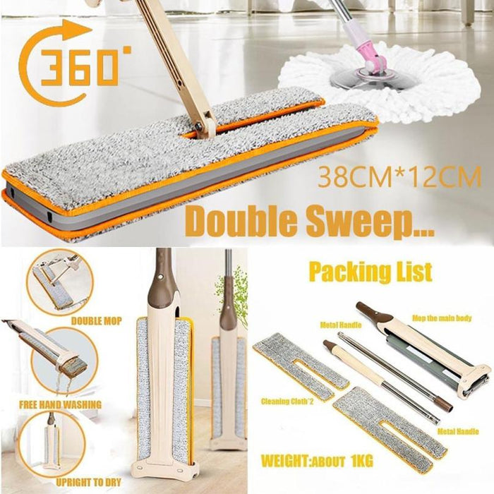 Double-Side Washable Flat Cleaning Floor Mop Tool