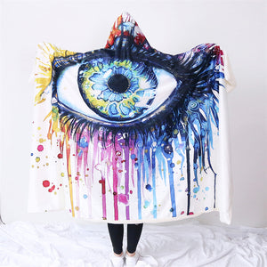 Rainbow Fire by Pixie Cold Art Hooded Blanket Charming Eye for Adults Sherpa Fleece Wearable Watercolor Throw Blanket 150x200cm - Hooded Blanket | Ziloda