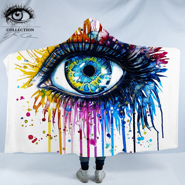 Rainbow Fire by Pixie Cold Art Hooded Blanket Charming Eye for Adults Sherpa Fleece Wearable Watercolor Throw Blanket 150x200cm
