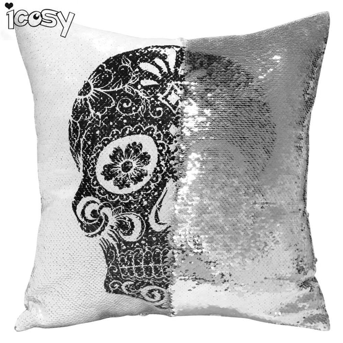 Skull Head Printed Reversible Sequin Cushion Cover Pillow Case Decorative Pillows Pillowcases for Sofa Home Decor Drop Shipping